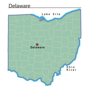 Delaware, the county seat of Delaware County, is located to the north ...