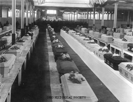 Morgue at the Ohio State Fairground with Victims of the Ohio Penitentiary Fire.jpg