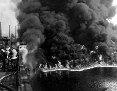 Image result for photo cuyahoga river burning