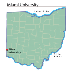 Miami University - Ohio History Central on delaware university map, university of illinois at urbana-champaign map, william woods university map, tampa university map, oxford ohio map, fort valley university map, university of louisiana at monroe map, mississippi university map, midland university map, northwest christian university map, houston university map, cal university map, university of arkansas at little rock map, fort collins university map, maastricht university map, miami of ohio map, miami military base map, new mexico university map, black hills state university map, university of pikeville map,