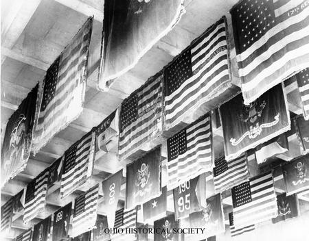 File:Battle Flags Hanging in Plaza of Ohio Historical Society.jpg