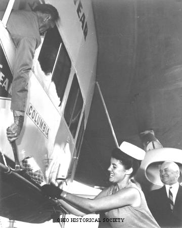 Mayer, Jacquelyn Christening the Goodyear Blimp Columbia.jpg