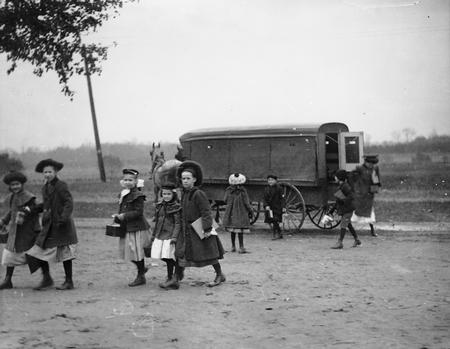 File:Children Arriving at School in Horse-Drawn Wagon.jpg